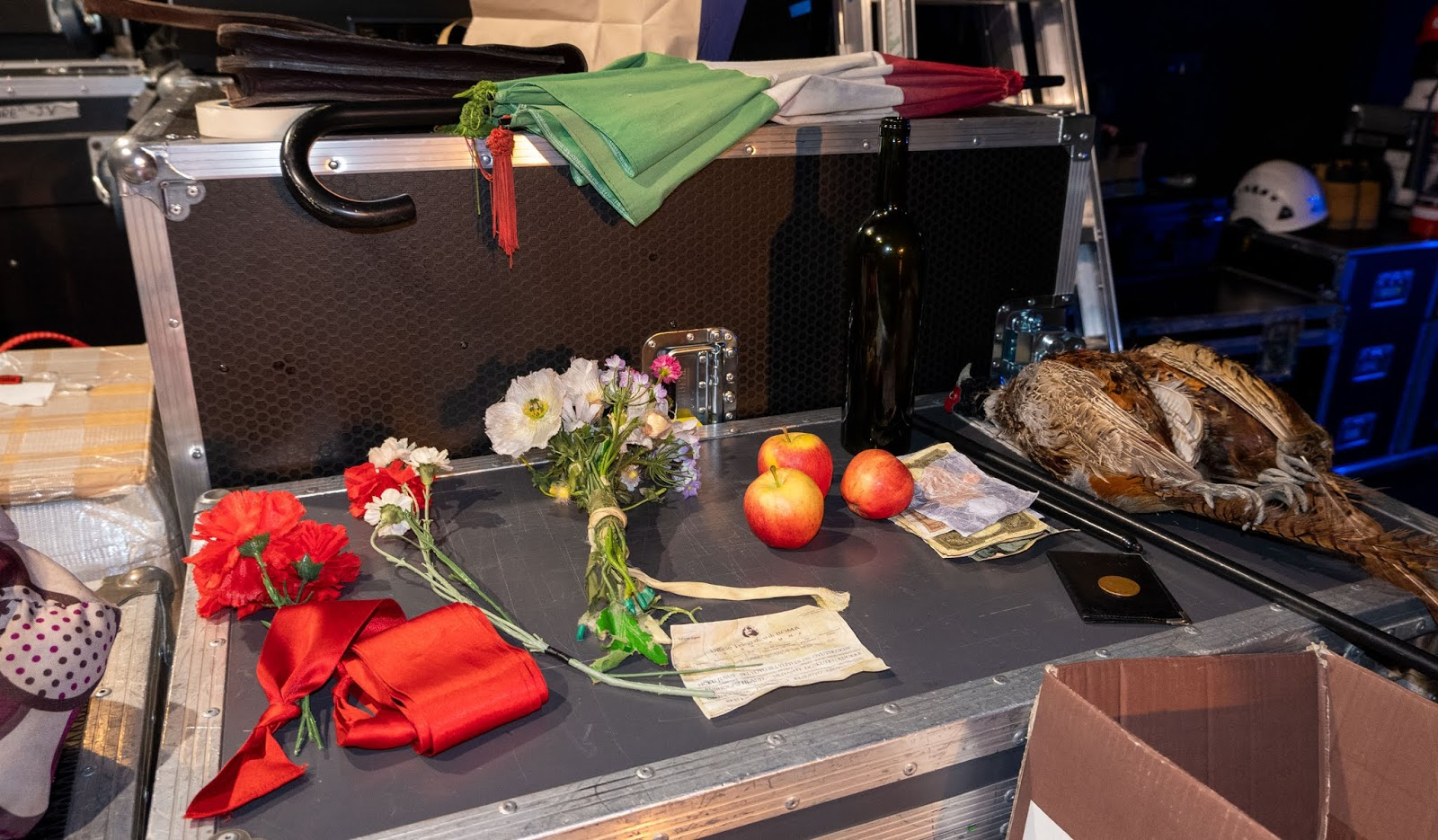 L'elisir d'amore props at the side of the Marlowe Theatre stage