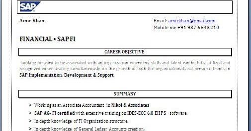 sap fico resume sample