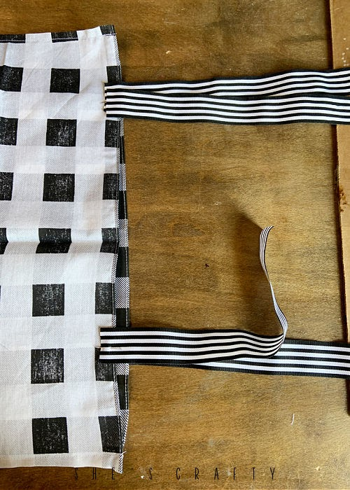 Ribbon tie closers on pillow covers.