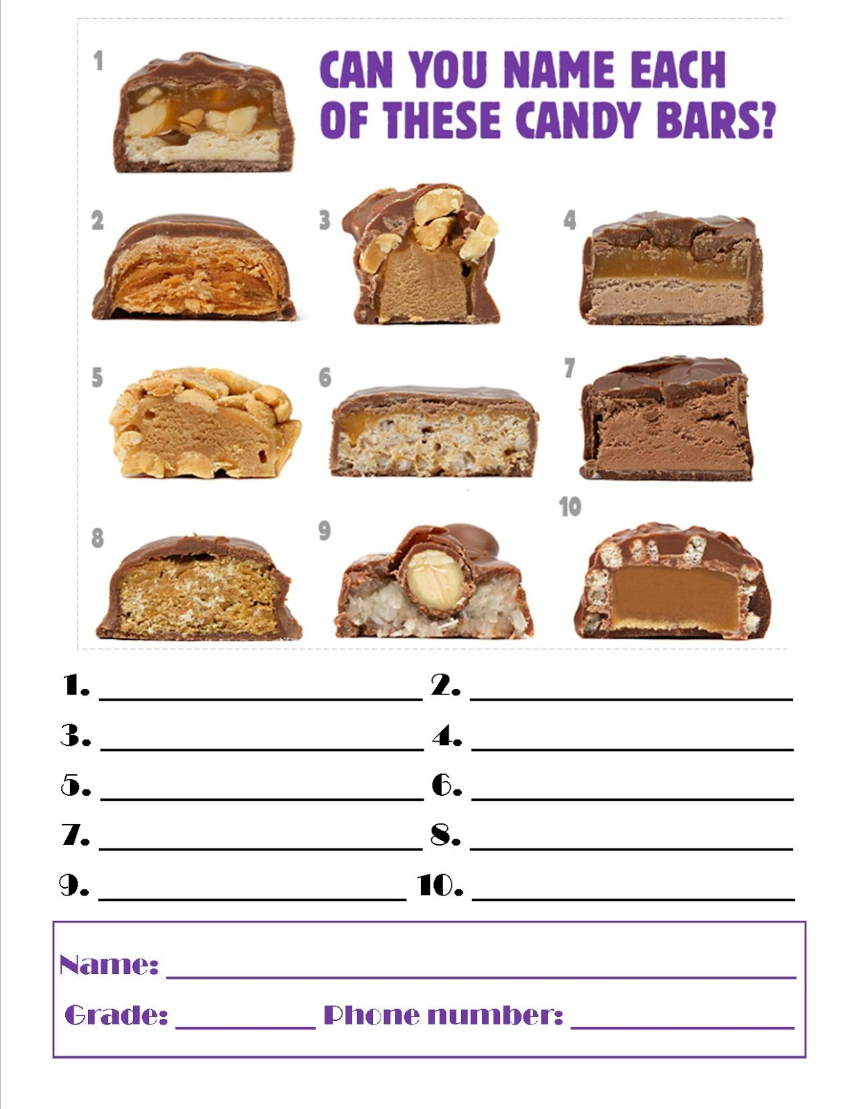 Guess The Candy Worksheet