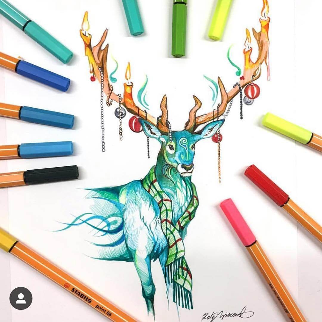 10-December-Stag-K-Lipscomb-Fantasy-and-Real-Life-Animal-Drawings-www-designstack-co