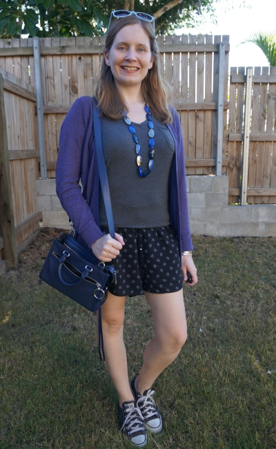 spring park outfit mum style purple cardigan navy accessories with grey tee black printed pull on shorts converse | awayfromblue