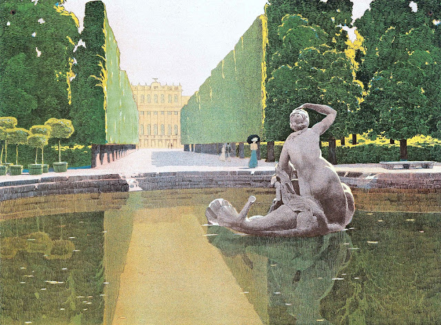 a painting by Carl Moll of a royal fountain