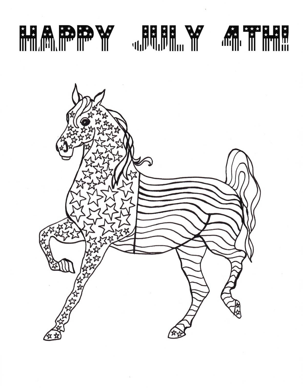 Make it easy crafts: Patriotic Horse coloring page