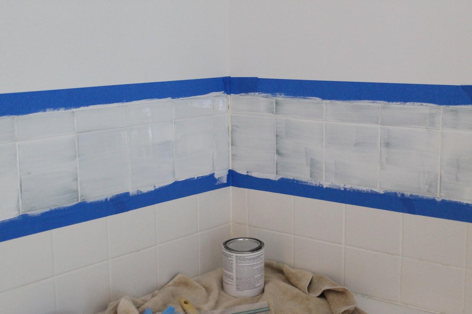 Spray Paint Bathroom Tiles