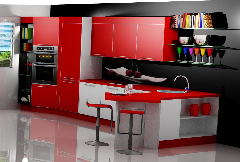Proyectos y m s cocina laminada en rojo y blanco - Cocinas rojas y blancas ...