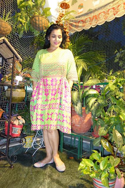 Cotton dress bandhani