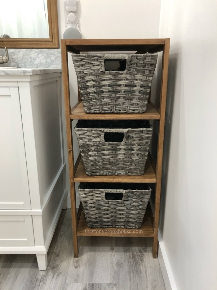 DIY Bathroom Shelf Unit full view