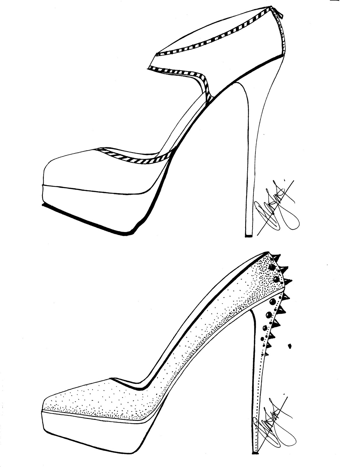 Easy Of High Heels Coloring Pages