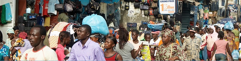 Shopping in Sierra Leone Africa on a Saturday morning
