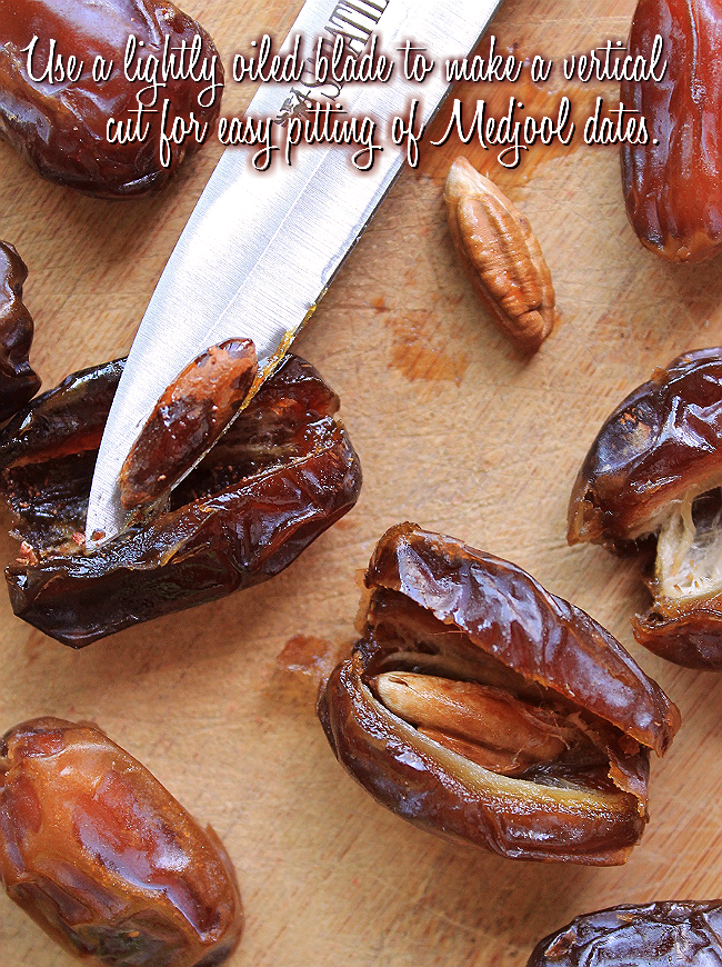 Pit Medjool Dates by creating a vertical cut with a lightly oiled paring knife.