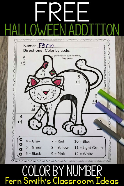 FREE Halloween Color By Number Fun for Basic Addition #FernSmithsClassroomIdeas