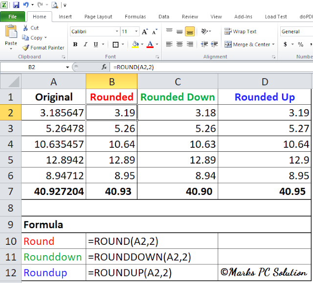 Rouding Numbers Formula in Excel