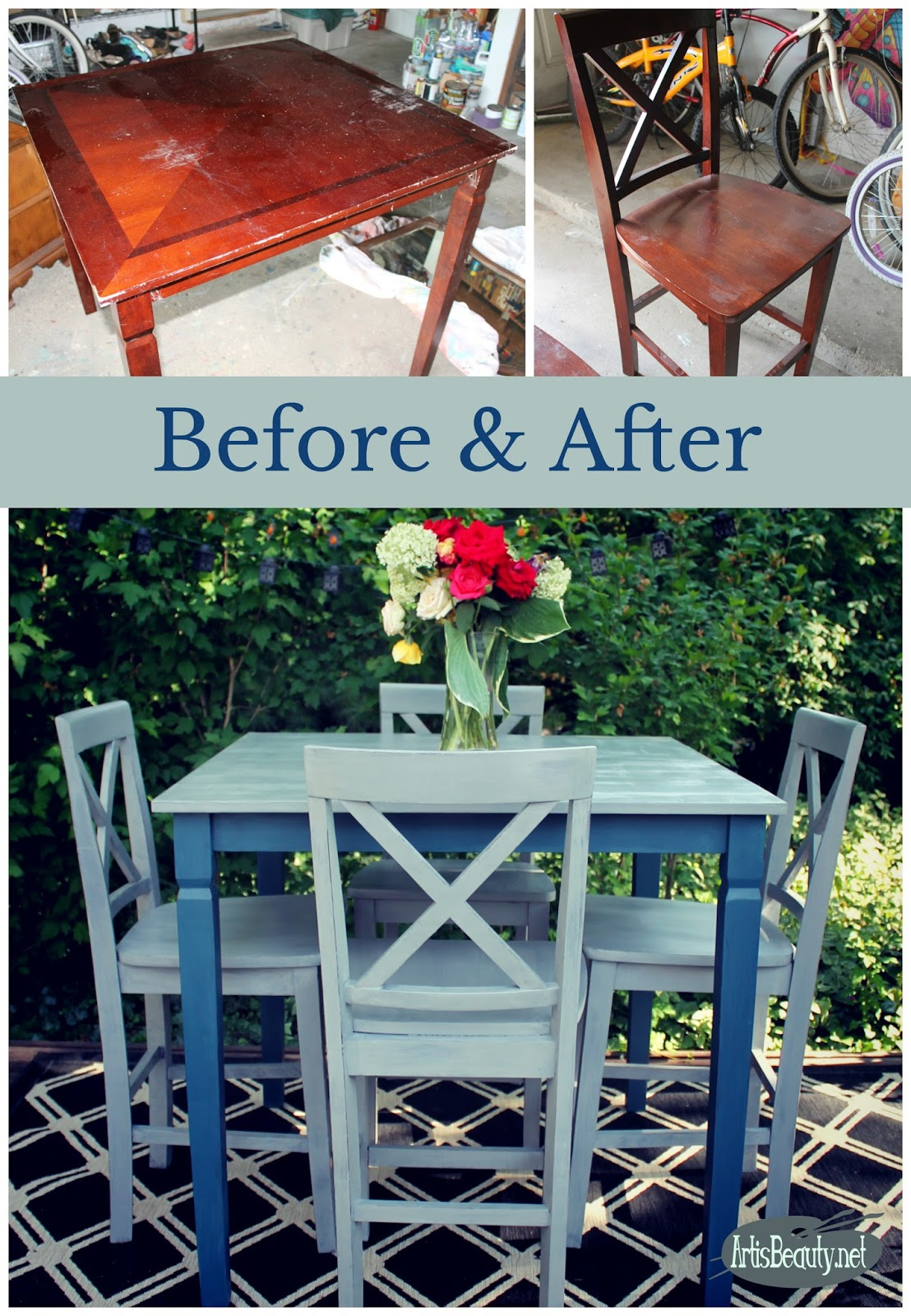 ART IS BEAUTY: Funky Farmhouse Rescued Table and Chairs Painted ...