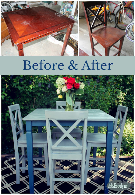 before and after eclectic bohemian rescued table and chairs painted makeover fixer upper farmhouse funky