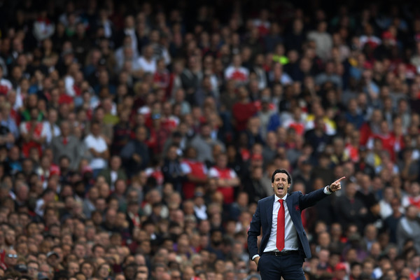 Unai Emery, manager of Arsenal gestures during the Premier League match between Arsenal FC and West Ham United at Emirates Stadium on August 25, 2018 in London, United Kingdom.