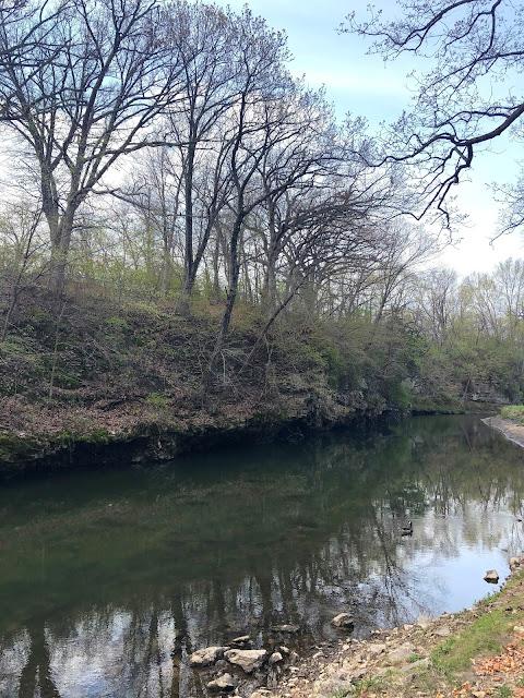 Limestone bluffs and Duck Creek craft a serene scene at Devils Glen Park.