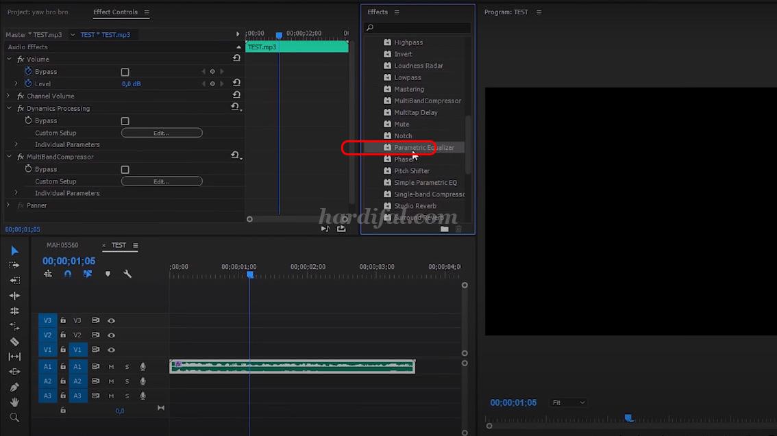 edit audio adobe premiere pro cc - Parametric Equalizer