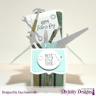 Divinity Designs Stamp/Die Duos: Notebook Paper  Stamp Set: Best Dad Ever  Paper Collection: Weathered Wood  Custom Dies: Workshop Tools, Pierced Circles, Surprise Box with Layers