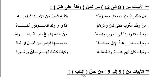 الابيات المقررة لغة عربية العشماوي الصف العاشر الفصل الثاني