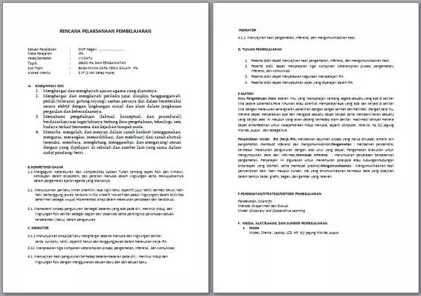 RPP IPA Kelas 7 Kurikulum 2013 Revisi Terbaru Semester 1 dan 2