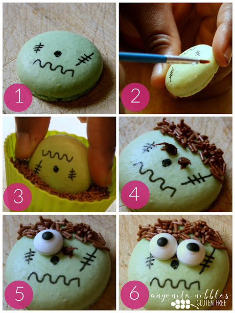 Step by step Frankenstein macaron decorating instructions | Anyonita Nibbles