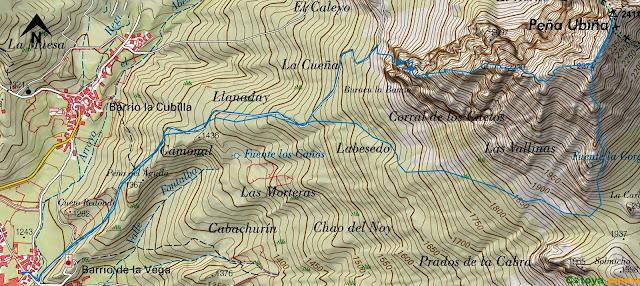 Mapa IGN con la ruta señalizada a Peña Ubiña por el espolón oeste.