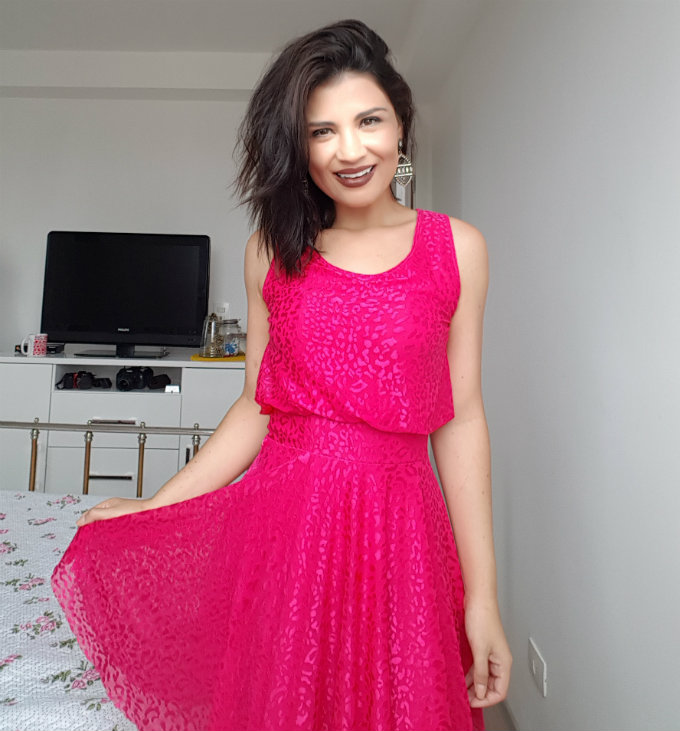 vestido rosa chiclets
