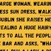 A large woman, wearing a sleeveless sun dress, walks into a pub in Dublin