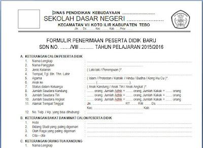 Formulir Pendaftaran Siswa Baru (PSB) SD/Mi