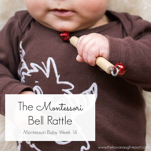The Montessori bell rattle is a perfect first toy for babies. This soothing rattle is easy to grab, entertaining and an easy DIY.