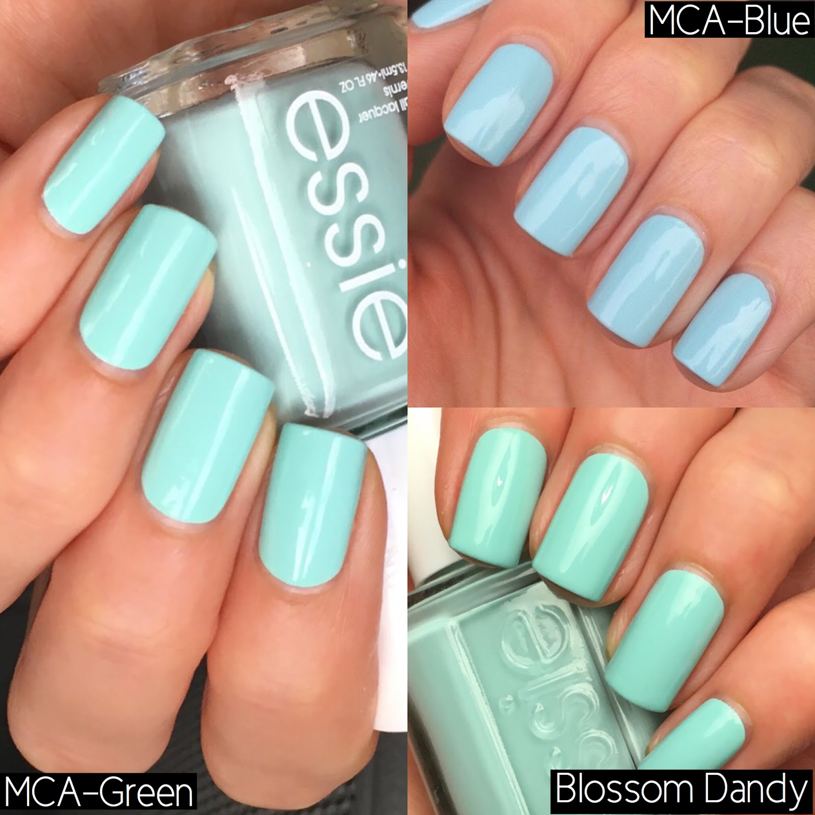lovefreshpaint: Essie Mint Candy Apple vs. Blossom Dandy