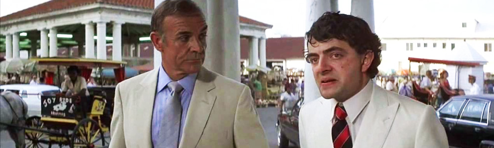 Rowan Atkinson made his film debut as Nigel Small-Fawcett in Never Say Never Again, alongside Sean Connery.