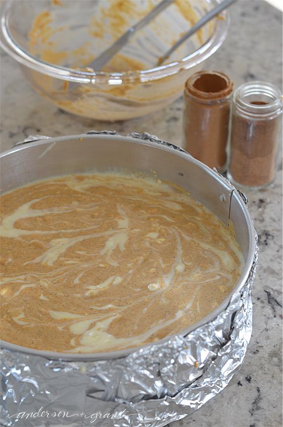 Preparing to bake the Ultimate Pumpkin Cheesecake | www.andersonandgrant.com