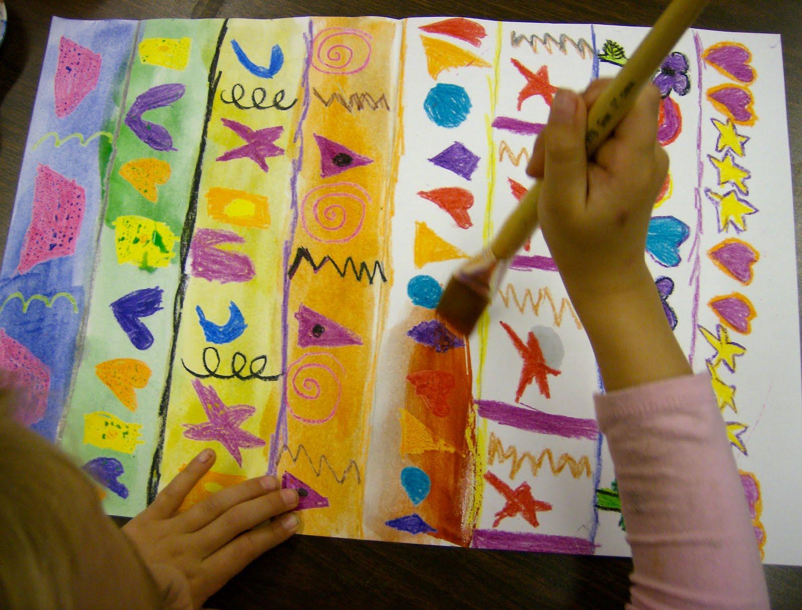 Zilker Elementary Art Class Kinder Pattern Paintings
