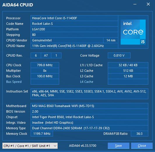 AIDA 64 CPUID INTEL CORE i5 11400F