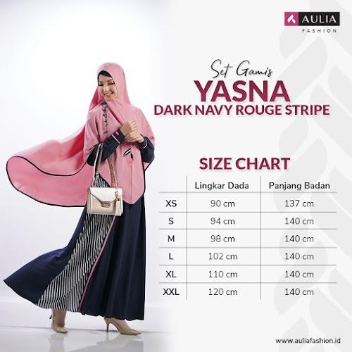 Set Gamis Yasna Dark Navy Rouge Stripe