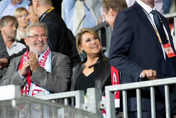 Grand Duke Henri and Grand Duchess Maria Teresa came to Jos Nasboum Stadium to watch the match played between F91 Dudelange v Milan
