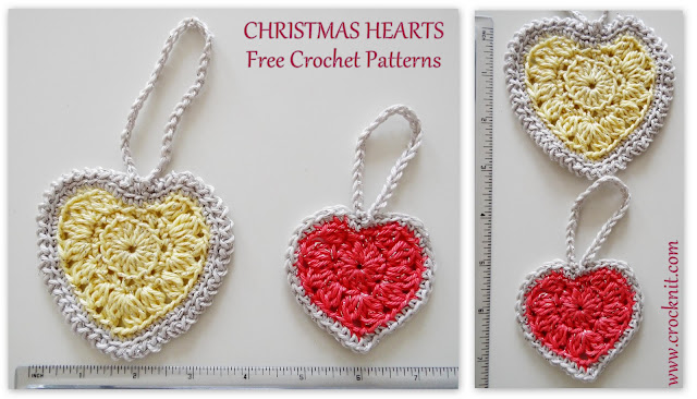 how to crochet, free crochet patterns, hearts, christmas hearts,