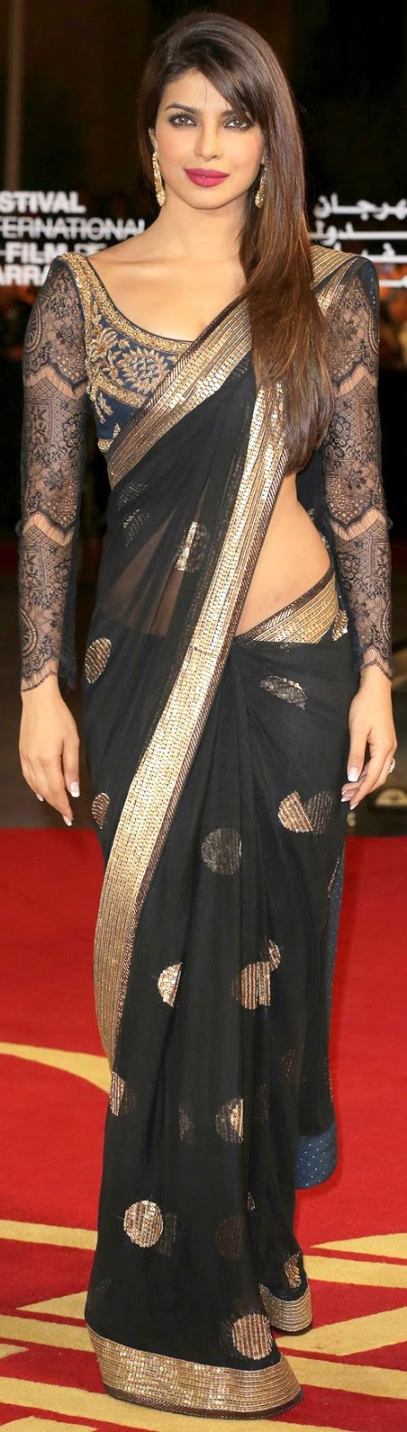 Priyanka Chopra wearing a black saree