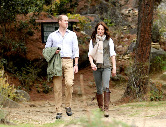 Prince William, Duke of Cambridge, and Catherine, Duchess of Cambridge, hike to Paro Taktsang, the Tiger's Nest monastery, on April 15, 2016, in Paro, Bhutan
