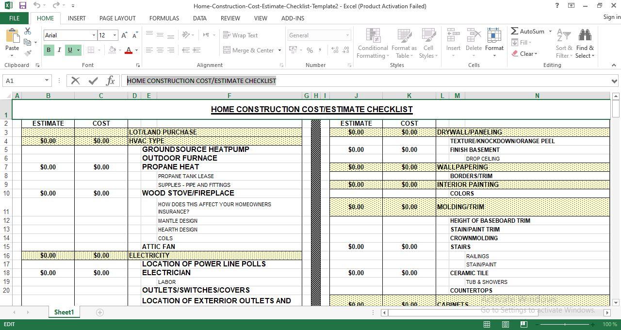 Home Construction cost estimating checklist