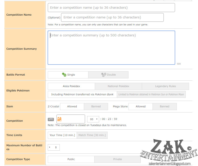 ZAK Entertainment: Pokemon Sun & Moon QR Rental Teams