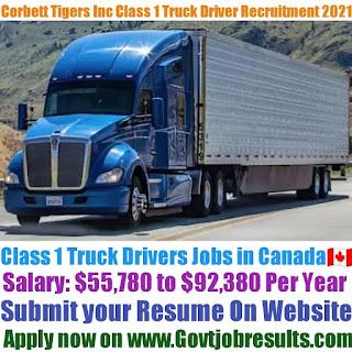 Corbett Tigers Inc Class 1 Truck Driver Recruitment 2021-22