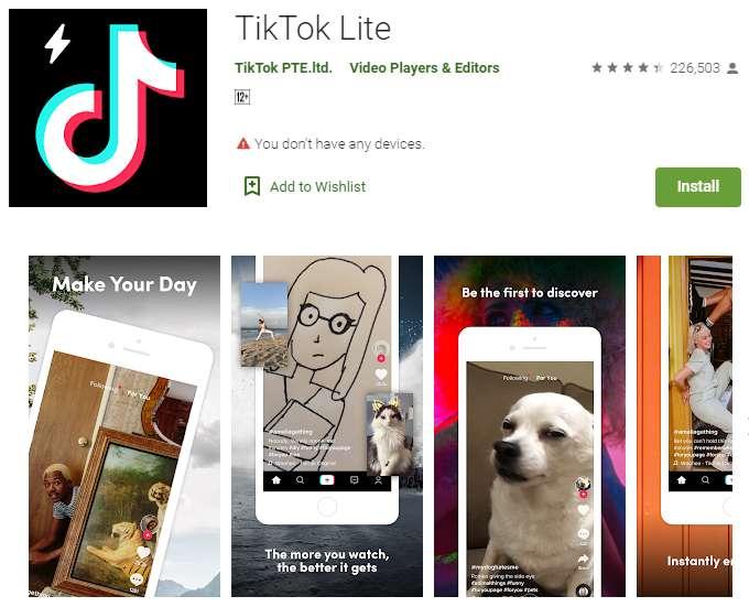 Aplikasi TikTok Lite versi Asia Tenggara (play.google.com)