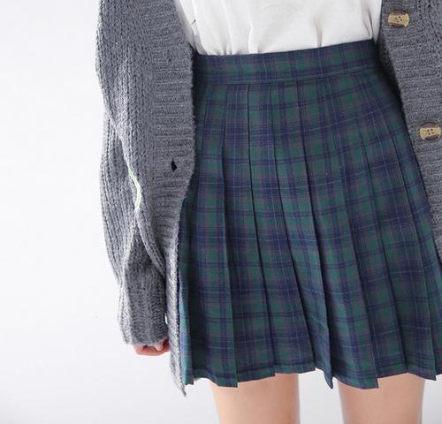 Check Print Cotton Mini Skirt