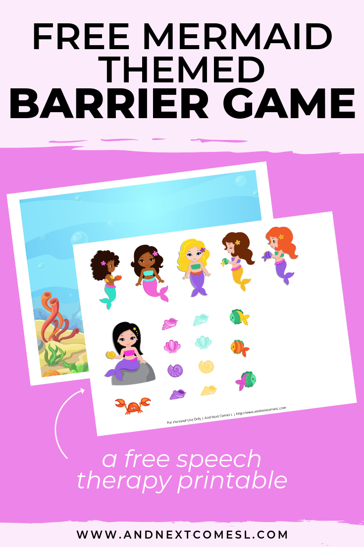 Free speech therapy barrier game: mermaid themed