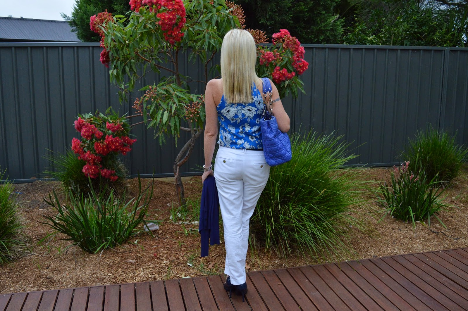 Sydney Fashion Hunter - White Pants, Blue Floral Top, Navy Pumps, Blue Dior Tote