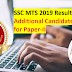 SSC MTS 2019 Result: 9551 Additional Candidates Qualified for Paper-II