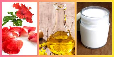 Hibiscus petals & mustard oil & coconut milk